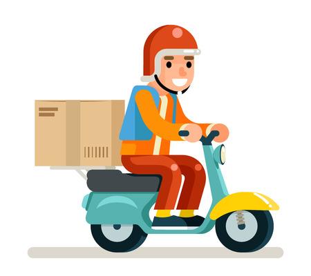Ilustración de Delivery Courier Scooter Symbol Box Concept Isolated Flat Design Vector Illustration - Imagen libre de derechos
