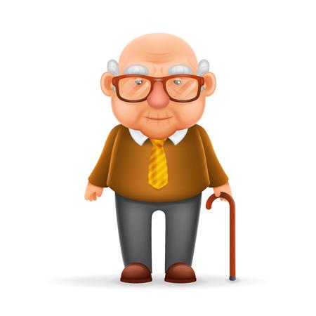 Ilustración de Old Man Grandfather Realistic Cartoon Character Design Isolated Vector Illustrator - Imagen libre de derechos