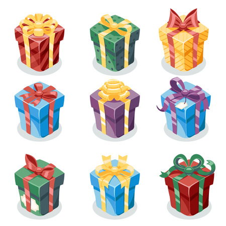 Illustration for Gift Box New Year and Cartoon Flat Design Icon Set Template Vector Illustration - Royalty Free Image