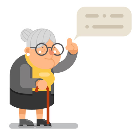 Illustration for Wise Teacher Guidance Granny Old Lady Character Cartoon Flat Vector illustration - Royalty Free Image