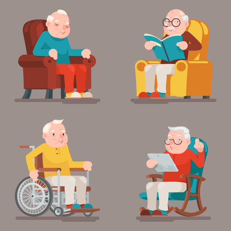 Illustration pour Grandfather Old Man Characters Sit Sleep Web Surfing Read Armchair Wheelchair Adult Icons Set Cartoon Design Vector Illustration - image libre de droit