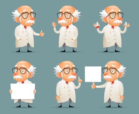 Illustration pour Old Scientist Character Icons Set Retro Cartoon Design Mobile Game Vector Illustration - image libre de droit