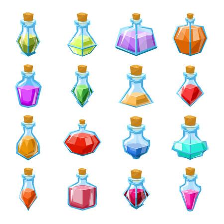 Illustration pour Alchemy witch magic beverage elixir potion poison antidote glass bottle icons set isolated cartoon design game vector illustration - image libre de droit