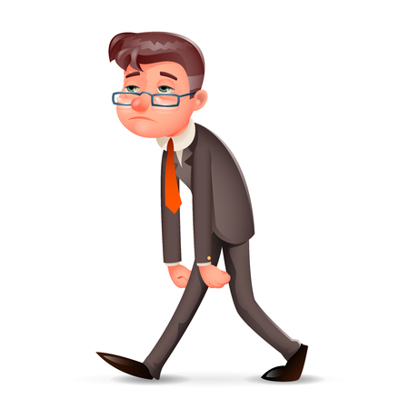 Illustration pour Tired Weary Fatigue Melancholy Sad Businessman Walk Retro Cartoon Design Vintage Character Icon Isolated Vector Illustration - image libre de droit