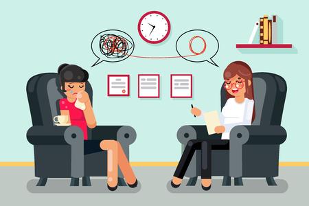 Illustration pour Psychologist consultation patient flat character design vector illustration - image libre de droit
