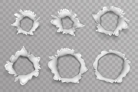Illustration pour Ripped torn metal window shellhole blow bullet projectile explosion hole set transparent background vector illustration - image libre de droit
