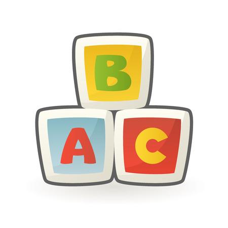 Illustration pour Baby cubes building blocks early educational toy alphabet letters design cartoon vector illustration - image libre de droit
