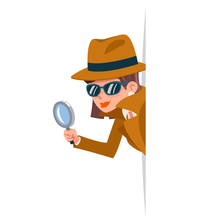 Ilustración de Cute woman snoop detective magnifying glass tec peeking out corner search help noir female cartoon character design isolated vector illustration - Imagen libre de derechos