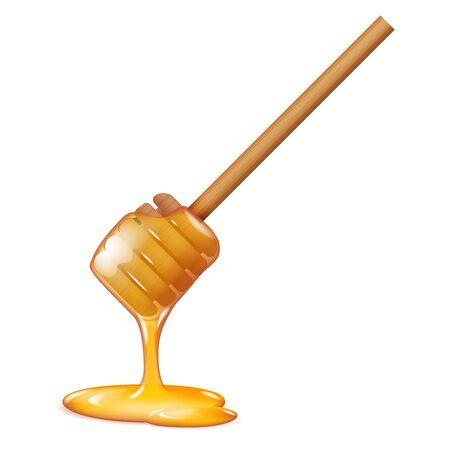 Illustration pour Flowing honey stick sweetness healthy food realistic 3d decoration vector illustration - image libre de droit