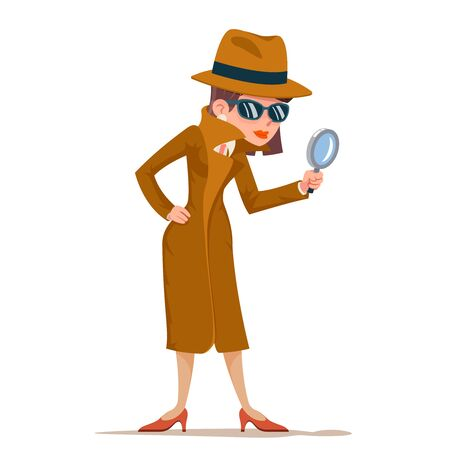 Illustration for Detective woman snoop magnifying glass tec search help noir cartoon female cartoon character design isolated vector illustration - Royalty Free Image