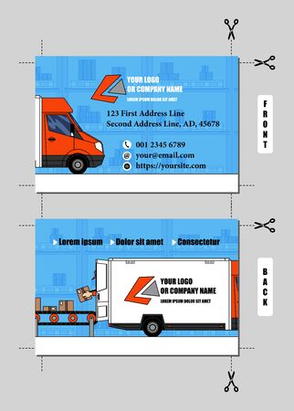 Illustration pour Vector business card design for delivery or logistics and transportation business. In it there are a truck, loaded by a worker and a conveyor belt, on warehouse background. Template contents replaceable easily. This design has a nice feature, because the two halves of the truck on front and back can be united placing side by side two business cards (cut following the crop marks). Proportions of the business card: 8,5 x 5,5 cm as final result, 0,3 cm of bleed area. - image libre de droit