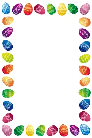 Easter Border Made Of White Painted Easter Eggs Isolated On White Background