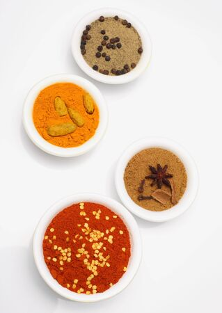 A wide range of spices used in recipes