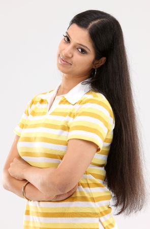 Woman posing peaceful action with long hair
