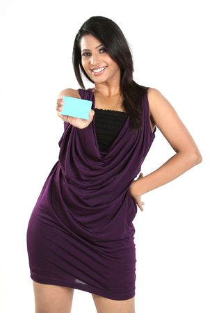 Beautiful woman with blue blank credit card