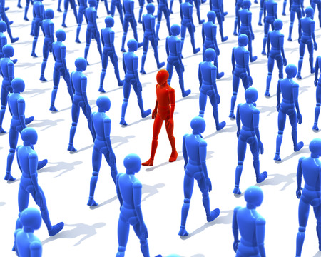 One man, figure walking contrary to a group, crowd of walking wooden figures, people, 3d rendering on white background