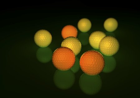 Group of yellow and orange golf balls, glowing on a reflecting surface, 3d rendering on dark background