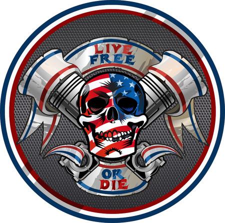 Illustration pour Live Free or Die / Biker Skull design - image libre de droit