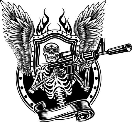 Illustration pour Skeleton Shooting a Rifle. - image libre de droit