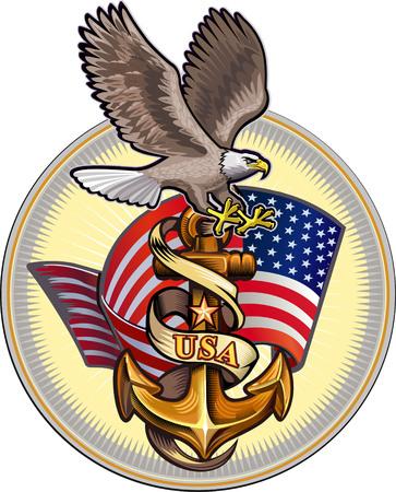 Illustration pour US Navy Eagle - image libre de droit