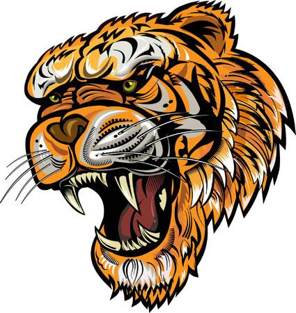 Illustration pour Tattoo Tiger Face - image libre de droit
