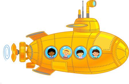 Illustration pour Submarine with kids - image libre de droit