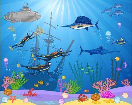 Illustration pour Fish and Divers swimming under the sea - image libre de droit