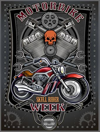 Illustration pour Motorbike and Skeleton Rider.  Vintage Biker Skull Emblem - image libre de droit