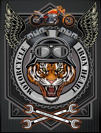 Illustration pour Vintage motorcycle label with Tiger - image libre de droit