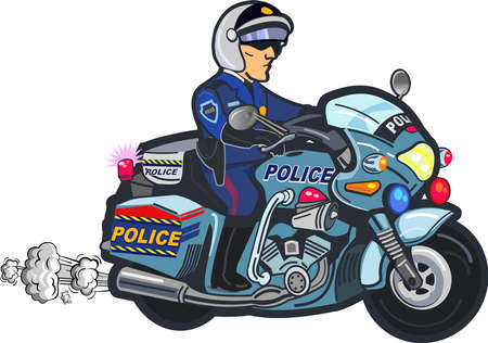 Illustration pour Police officer riding on Police motorcycle emergency patrol vehicle - image libre de droit