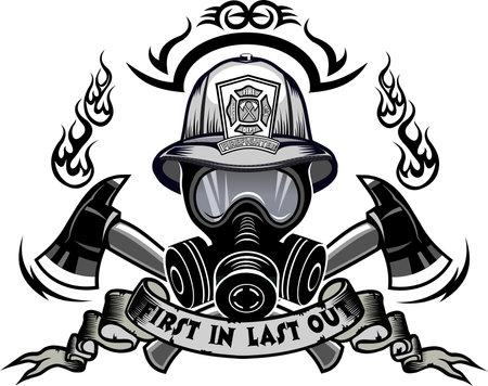 Illustration pour Firefighter Tattoo. Fireman helmet and cross ax - image libre de droit