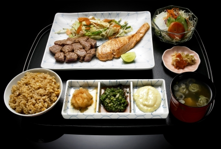 japanese food meal, bowl, rice, meat, dish, plate  with vegetable salad