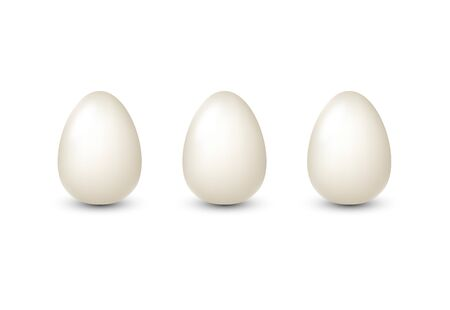 Illustration pour White realistic eggs isolated for egg product ad or poster. Vector illustration. - image libre de droit