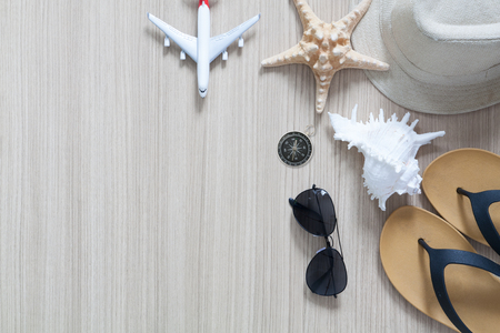 Beach outdoor accessories for holidays travel. Flat lay