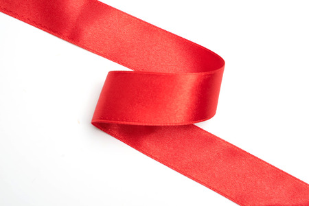 Photo pour Red ribbon border isolated on white background - image libre de droit