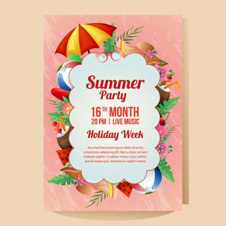 Illustration for summer holiday party poster with umbrella beach season illustration - Royalty Free Image