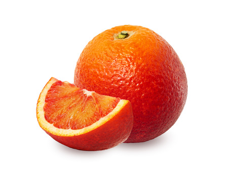 One and a half red orange over white background. Washington Sanguine blood orange.