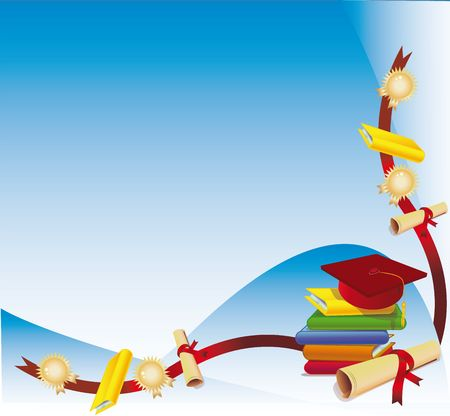Bunch of books with diploma and a graduation cap as a corner background