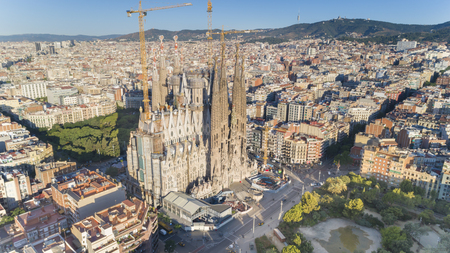 Aerial view of Sagrada Familia landmark, Barcelona, Spain