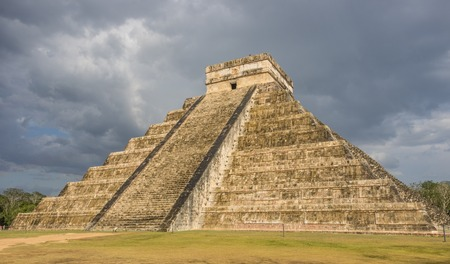 Storm over  Kukulkan pyramid in Chichen Itza Mexico