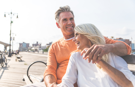 Photo for Happy senior couple spending time at the beach. Concepts about love,seniority and people - Royalty Free Image