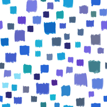 Seamless pattern with small  hand painted squares blue color  abstract .