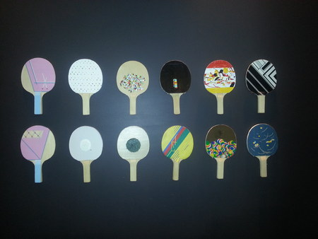 A mixture of colorful table-tennis bat