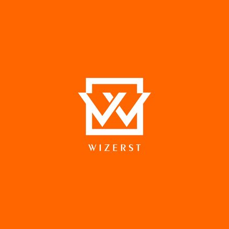 Illustration pour Letter W or VV or VW Logo Design Template, White Box in Orange Background, Rectangle Square Logo Concept, Simple and Clean, Strong & Bold - image libre de droit