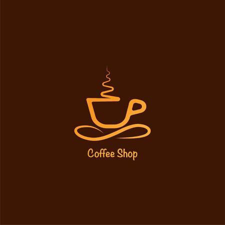 Illustration pour Coffee Shop Logo Design Template, Minimal Logo Concept, Simple Logo Illustration, Cup Vector Icon - image libre de droit