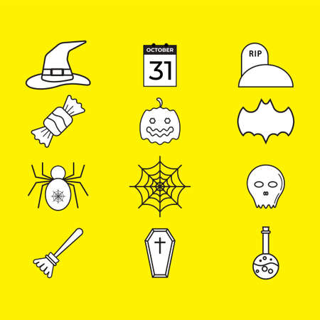 Illustration for Halloween icon pack isolated on yellow color background. Uncolored vector collection. Black and white illustration design. - Royalty Free Image