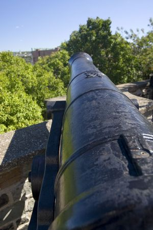 Old cast iron cannons on the ramparts of old quebec city canada
