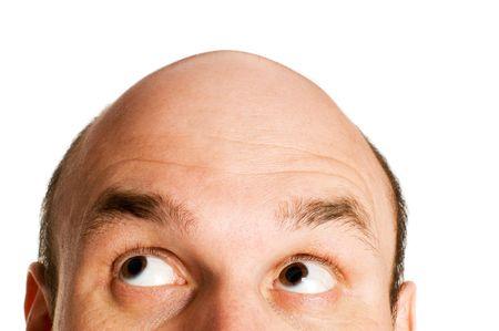 bald head looking up isolated