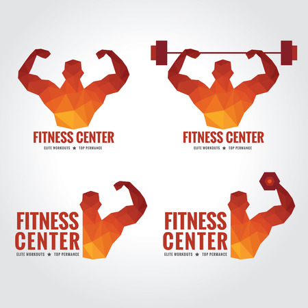 Illustration pour Fitness center logo (Men is muscle strength and weight lifting) - image libre de droit