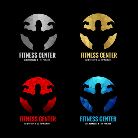 Foto de Fitness center logo low poly  4 color is silver gold red and blue (Vocal muscle men) - Imagen libre de derechos
